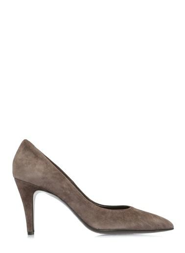 Divarese İnce Kısa Topuklu Deri Ayakkabı Vizon